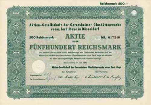 AG der Gerresheimer Glashüttenwerke vorm. Ferd. Heye