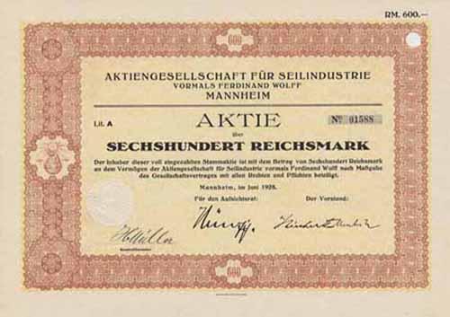 AG für Seilindustrie vormals Ferdinand Wolff