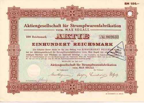 AG für Strumpfwarenfabrikation vorm. Max Segall