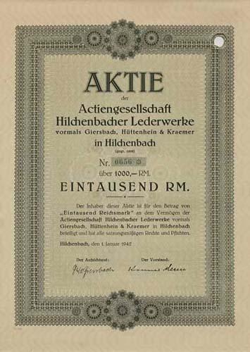 AG Hilchenbacher Lederwerke vormals Giersbach, Hüttenhein & Kraemer