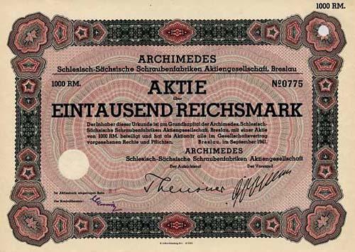 ARCHIMEDES Schlesisch-Sächsische Schraubenfabriken