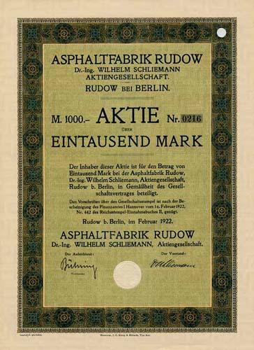 Asphaltfabrik Rudow Dr.-Ing. Wilhelm Schliemann