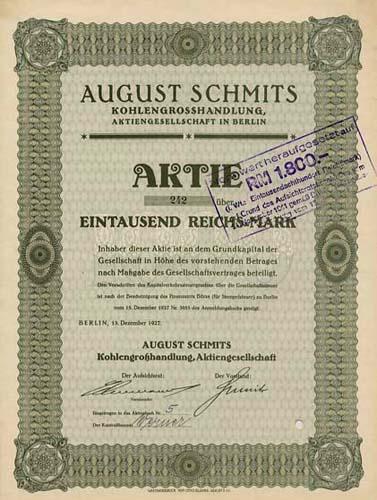 August Schmits Kohlengrosshandlung