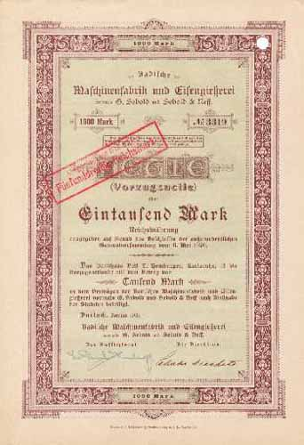 Badische Maschinenfabrik und Eisengießerei vorm. G. Sebold und Sebold & Neff.