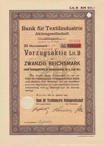 Bank für Textilindustrie