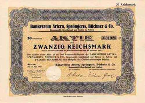 Bankverein Artern, Spröngerts, Büchner & Co.