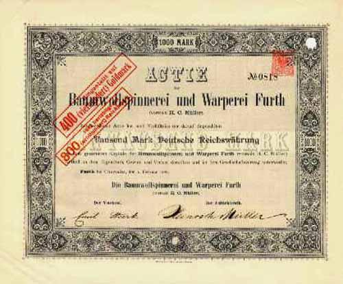 Baumwollspinnerei und Warperei Furth (vormals H. C. Müller)