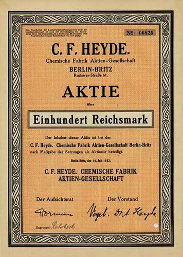 C. F. Heyde. Chemische Fabrik Berlin-Britz