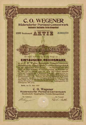 C. O. Wegener Rüdersdorfer Portland-Cementwerk, Hennickendorfer Dampfziegeleien Vertriebs-AG