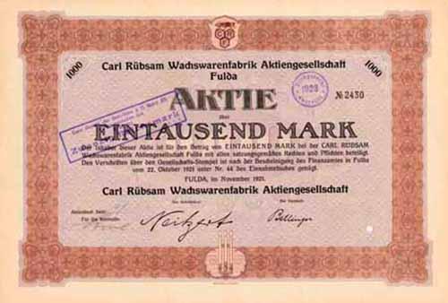 Carl Rübsam Wachswarenfabrik