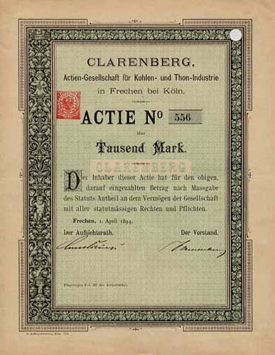 CLARENBERG, AG für Kohlen- und Thon-Industrie
