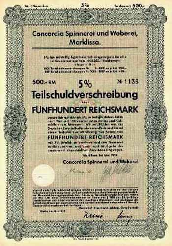 Concordia Spinnerei und Weberei zu Marklissa und Bunzlau