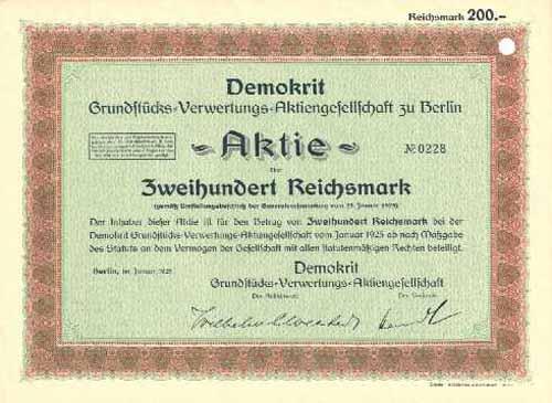 Demokrit Grundstücks-Verwertungs-AG