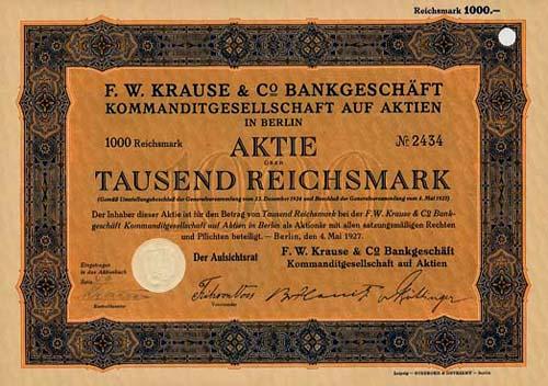 F. W. Krause & Co. Bankgeschäft