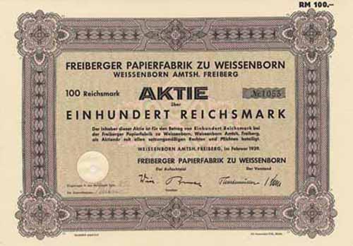 Freiberger Papierfabrik zu Weissenborn