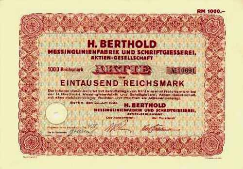 H. Berthold Messinglinienfabrik und Schriftgiesserei