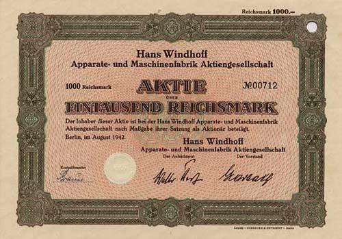 Hans Windhoff Apparate- und Maschinenfabrik