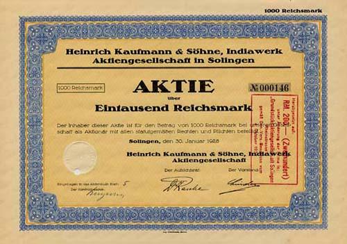 Heinrich Kaufmann & Söhne, Indiawerk