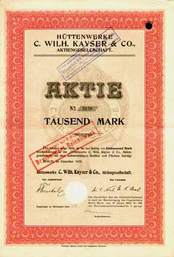 Hüttenwerke C. Wilh. Kayser & Co.