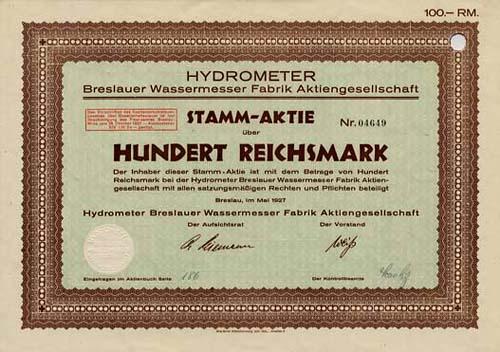 Hydrometer Breslauer Wassermesser Fabrik