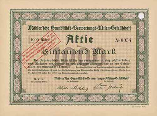 Mädler'sche Grundstücks-Verwertungs-AG