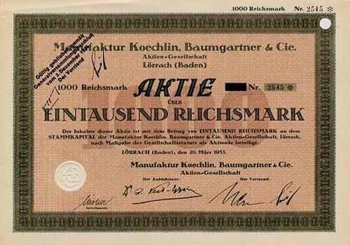 Manufaktur Koechlin, Baumgartner & Cie.
