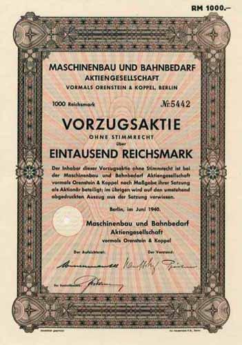 Maschinenbau und Bahnbedarf vormals Orenstein & Koppel