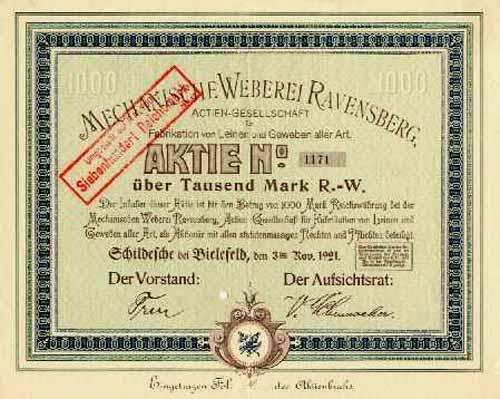 Mechanische Weberei Ravensberg, AG für Fabrikation von Leinen und Geweben aller Art