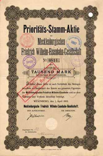 Mecklenburgische Friedrich Wilhelm Eisenbahn-Gesellschaft