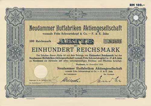 Neudammer Hutfabriken vormals Fritz Schwartzkopf & Co. - F. & E. Jahn