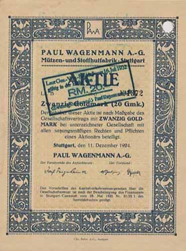Paul Wagenmann Mützen- und Stoffhutfabrik