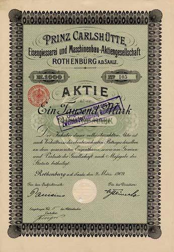 Prinz Carlshütte, Eisengiesserei und Maschinenbau-AG
