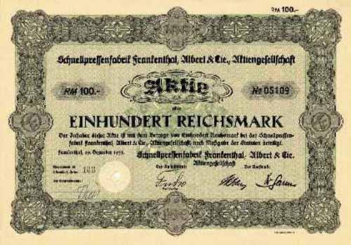 Schnellpressenfabrik Frankenthal, Albert & Cie.