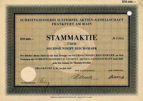 Schriftgiesserei D. Stempel