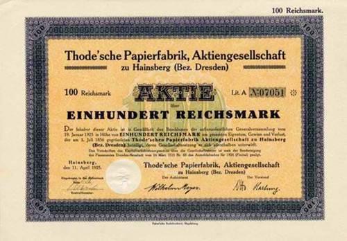 Thode'sche Papierfabrik zu Hainsberg