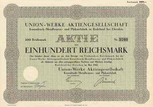 Union-Werke AG Kunstdruck-Metallwaren- und Plakatefabrik