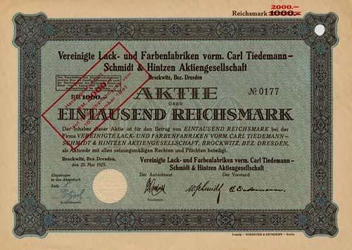 Vereinigte Lack- und Farbenfabriken vorm. Carl Tiedemann - Schmidt und Hintzen