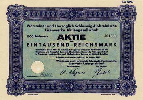 Warsteiner und Herzoglich Schleswig-Holsteinische Eisenwerke