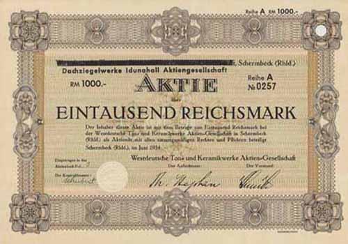 Westdeutsche Ton- und Keramikwerke (Dachziegelwerke Idunahall)