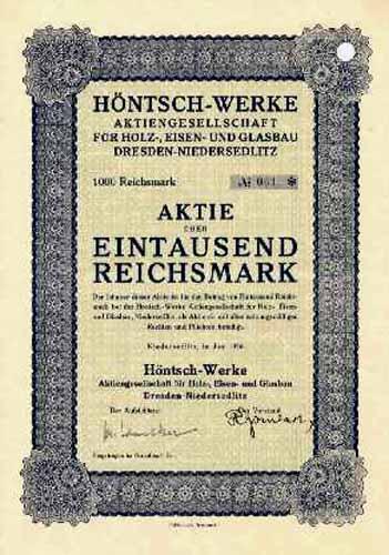 Höntsch-Werke AG für Holz-, Eisen- und Glasbau, Dresden-Niedersedlitz
