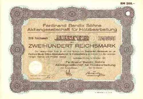 Ferdinand Bendix Söhne AG für Holzbearbeitung