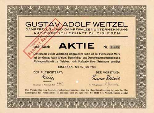 Gustav Adolf Weitzel Dampfpflug- und Dampfwalzenunternehmung
