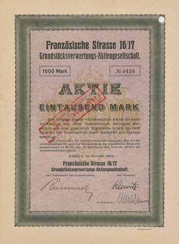 Französische Strasse 16/17 Grundstücksverwertungs-AG