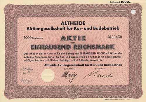 Altheide AG für Kur- und Badebetrieb