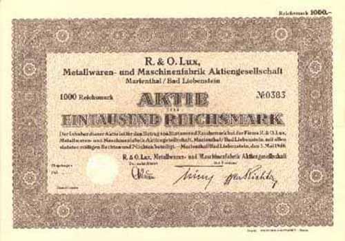 R. & O. Lux, Metallwaren- und Maschinenfabrik