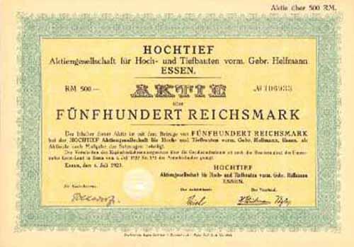 HOCHTIEF AG für Hoch- und Tiefbauten, vorm. Gebr. Helfmann