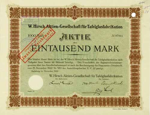 W. Hirsch AG für Tafelglasfabrikation