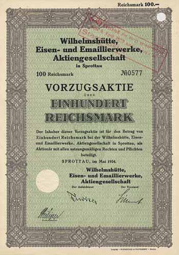 Wilhelmshütte, Eisen- und Emaillierwerke
