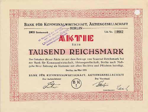 Bank für Kommunalwirtschaft