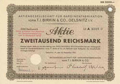 AG für Gardinenfabrikation vorm. T. I. Birkin & Co.